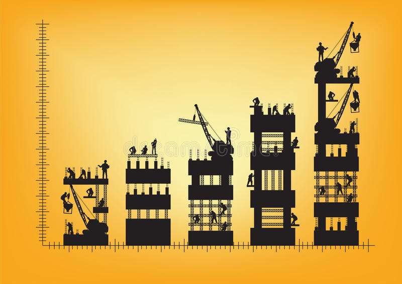 传染媒介建筑工人剪影在工作 向量例证
