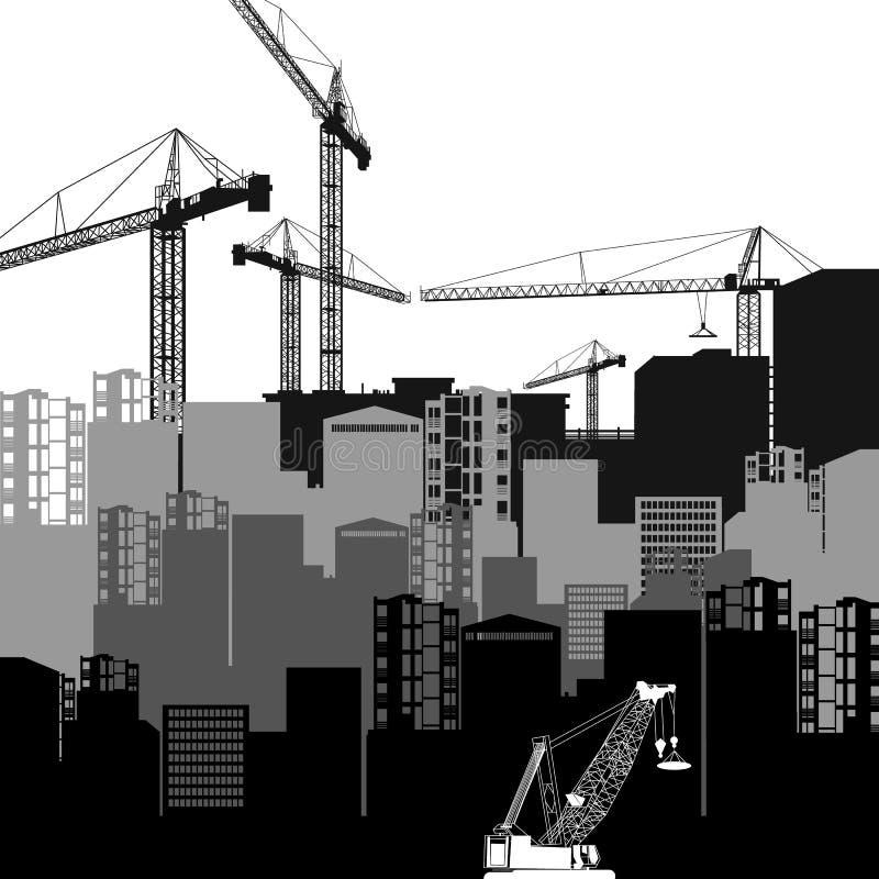 传染媒介建筑用起重机剪影产业例证archi