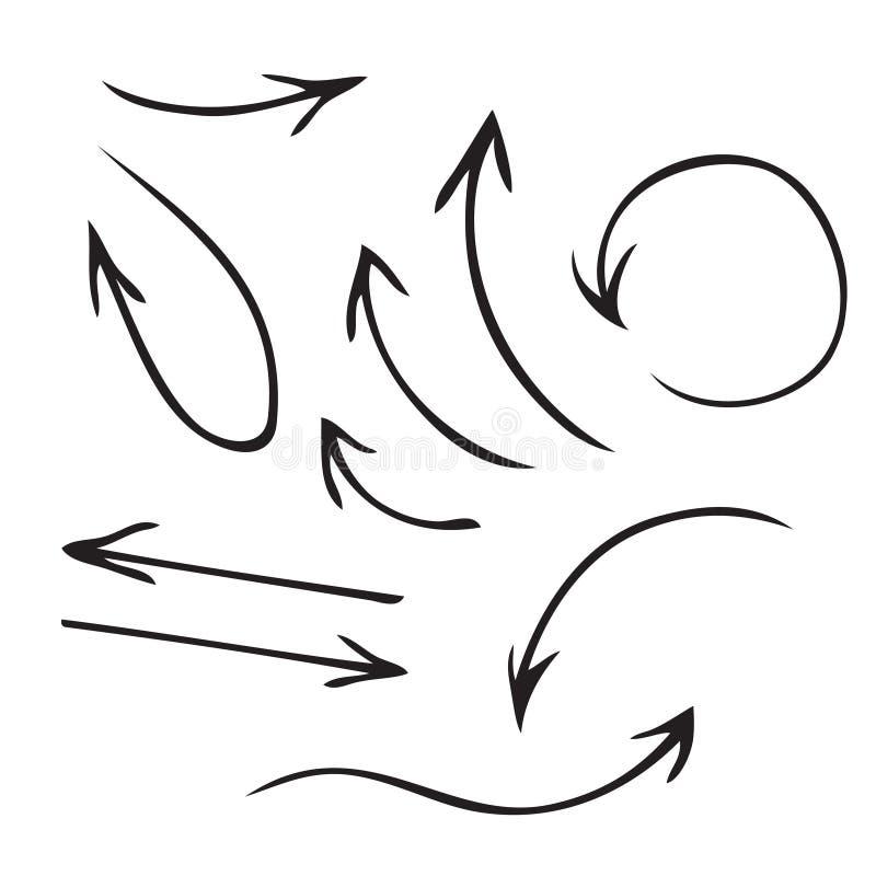 黑传染媒介箭头手拉的集合 向量例证