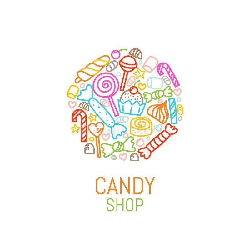 传染媒介糖果商店商标模板有甜点的在线性样式 库存例证