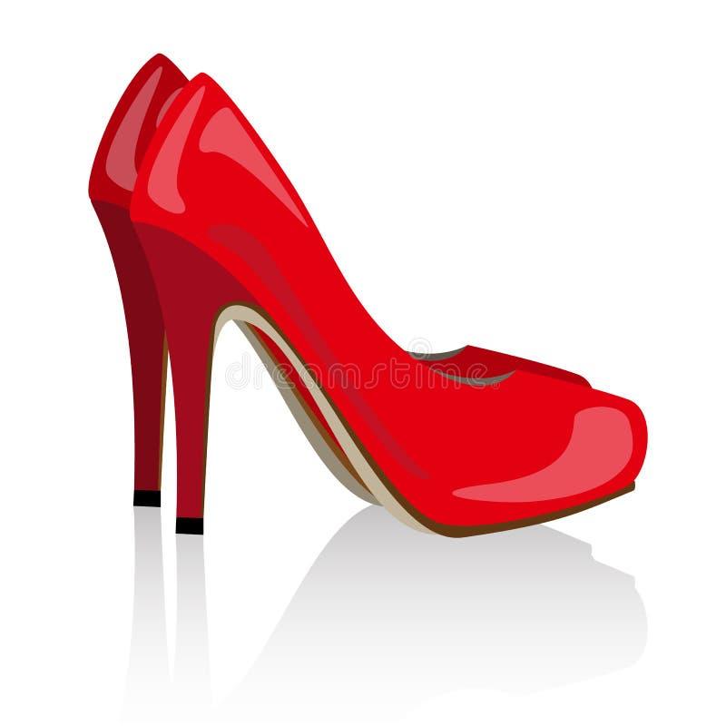 传染媒介红色现实妇女鞋子 向量例证