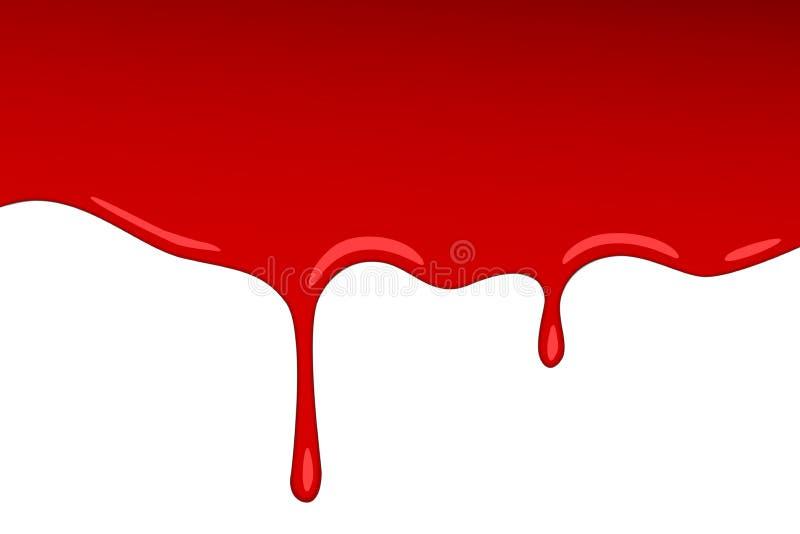 传染媒介滴水红色血液果酱 绘传染媒介飞溅并且喷溅象草莓糖浆或番茄酱透明背景 皇族释放例证