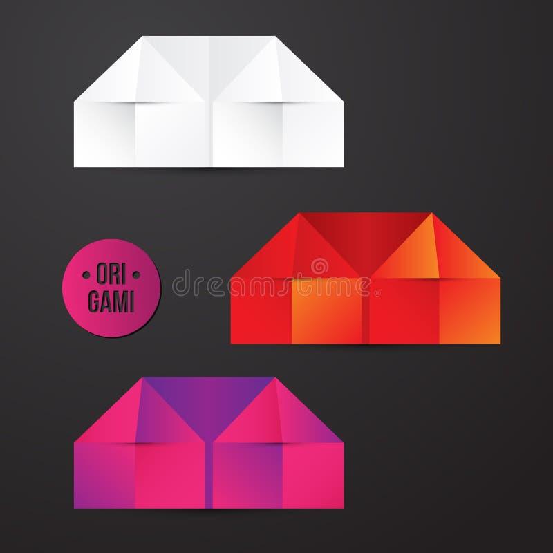 传染媒介纸origami房子象 五颜六色的origamy集合 您的身分的纸设计 库存例证