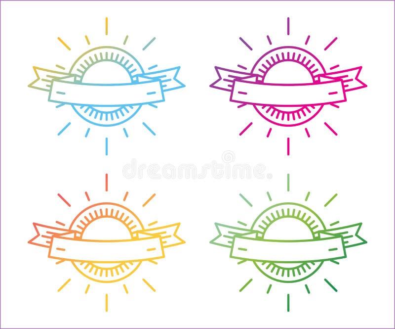 传染媒介线性商标模板集合 抽象箭头 皇族释放例证