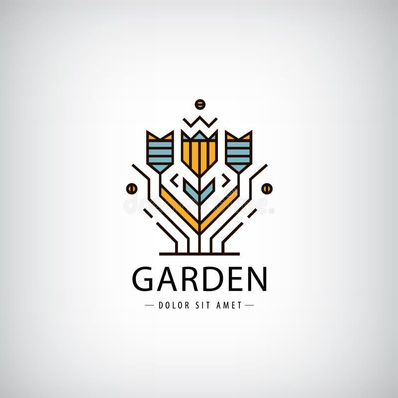 传染媒介线性商标 庭院,在现代样式的花 皇族释放例证
