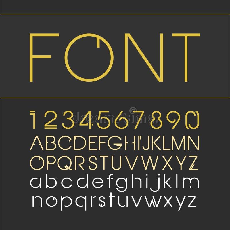 传染媒介线性字体 与数字的线型字体 向量例证