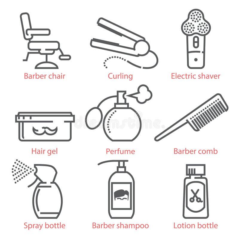 传染媒介线性象设置了用理发师设备和辅助部件infographics和UX的 库存例证
