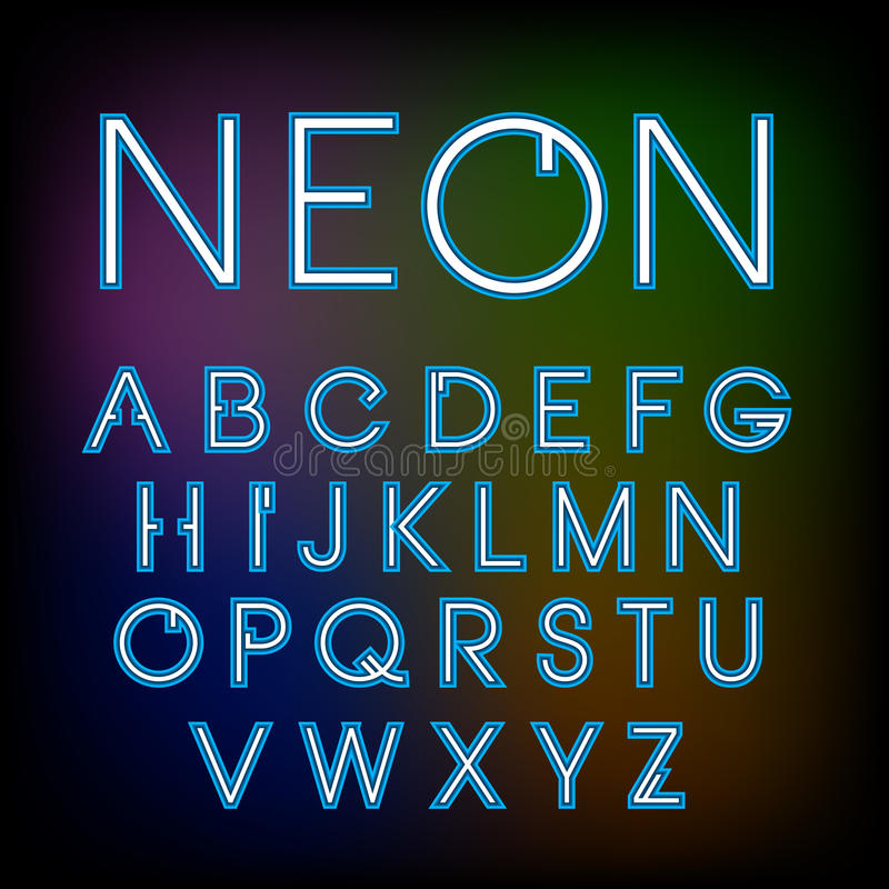 传染媒介线性霓虹字体 库存例证