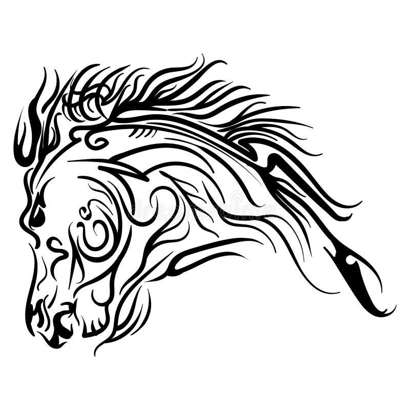 传染媒介线艺术马头纹身花刺剪影 皇族释放例证