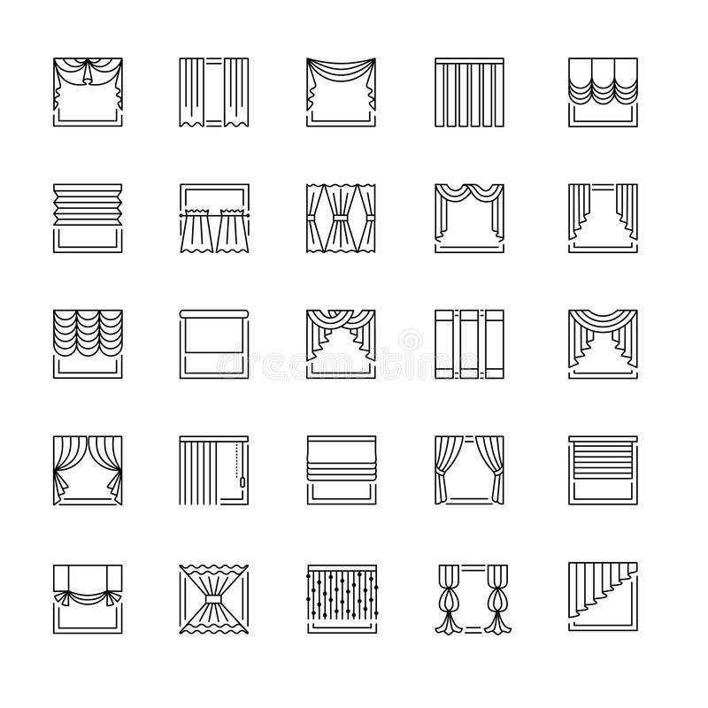 传染媒介线象与装饰 窗帘、窗帘和树荫 库存例证