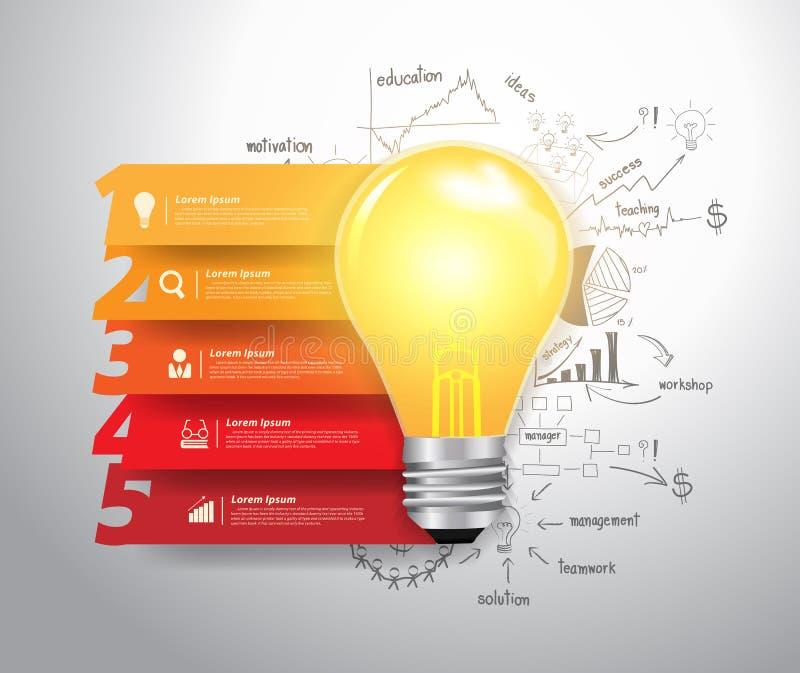 传染媒介编号步选择有电灯泡想法 库存例证