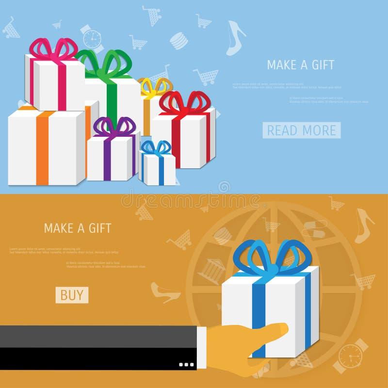 传染媒介网上购物礼物概念 向量例证