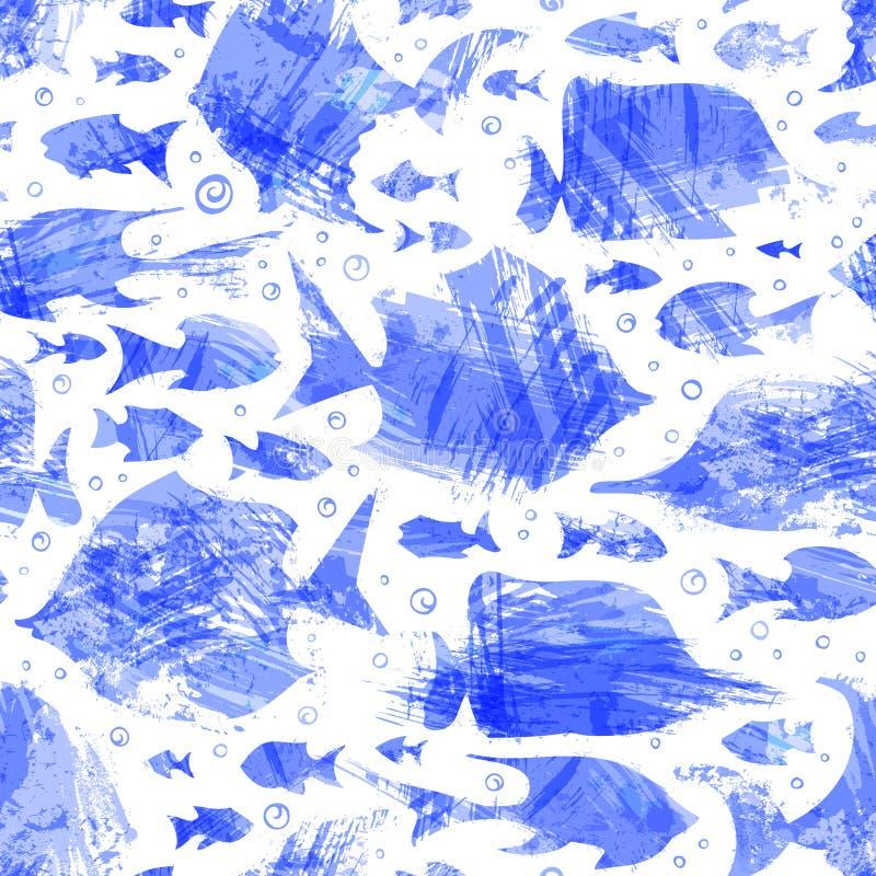 传染媒介紫罗兰色水彩无缝的鱼样式 皇族释放例证
