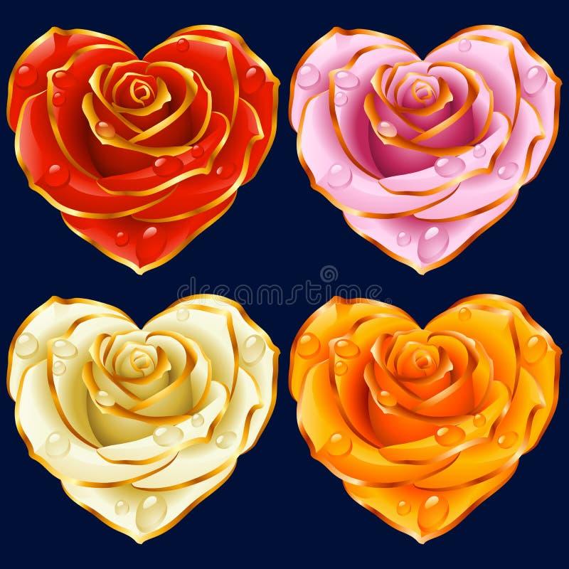 传染媒介罗斯心脏集合 红色,黄色,桃红色和白花 库存例证