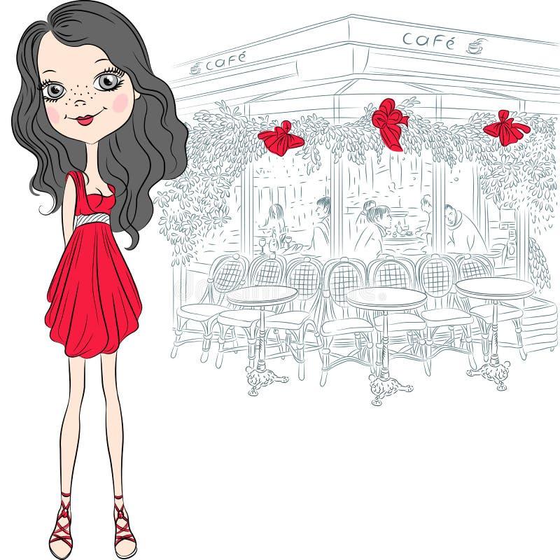 传染媒介美丽的时尚女孩在巴黎 库存例证