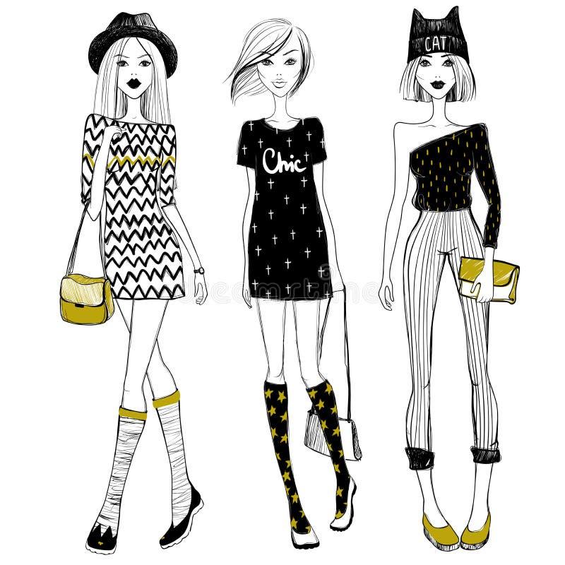 传染媒介美丽的时兴的女孩 逗人喜爱的女孩被设置 时尚方式 皇族释放例证