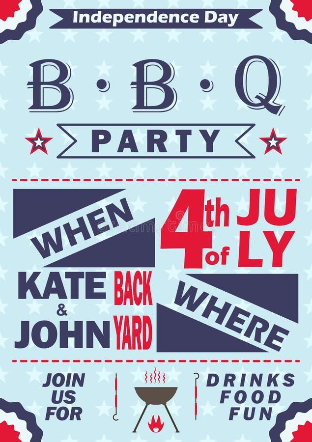 传染媒介美国独立日烤肉党邀请 BBQ邀请卡片模板设计 第4 7月野餐党飞行物 库存例证