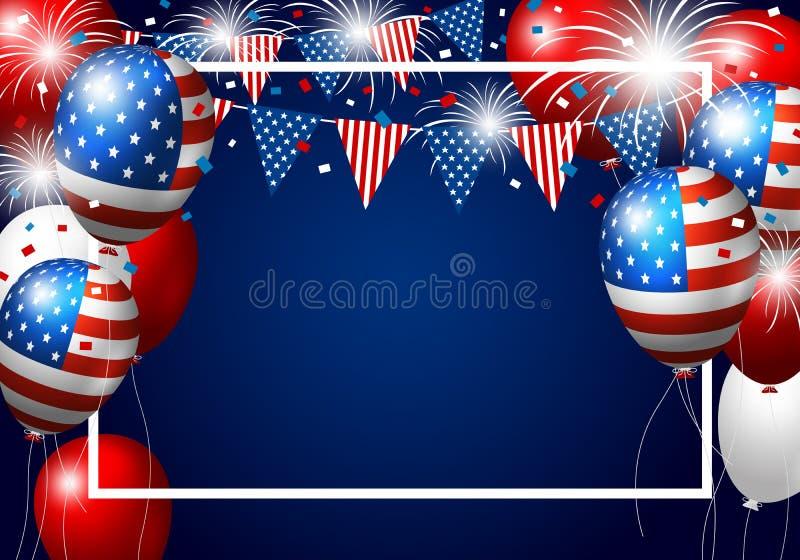 传染媒介美国迅速增加美国国旗设计与烟花的 向量例证