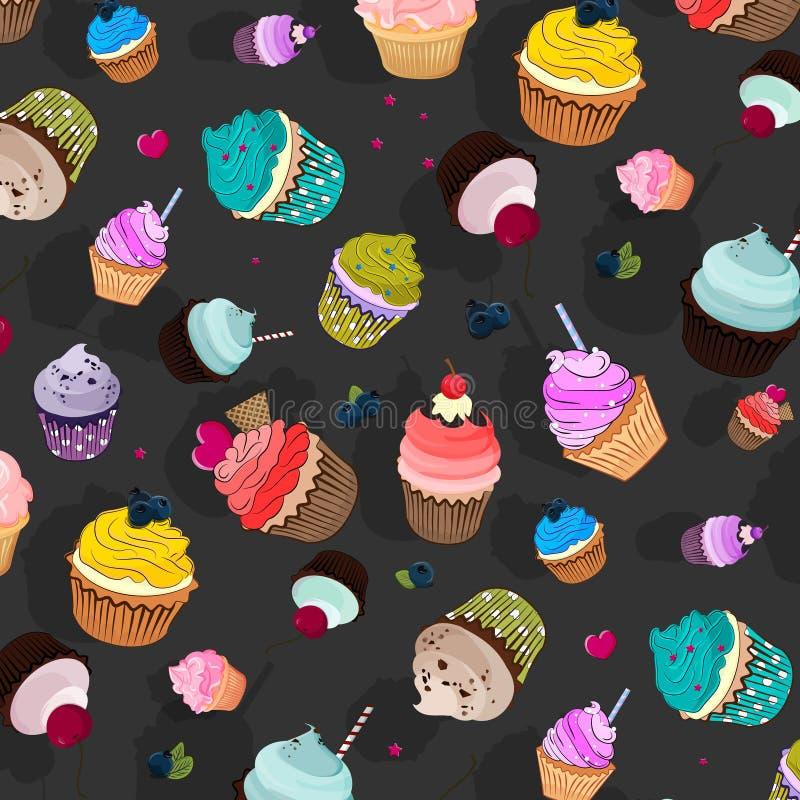 传染媒介美好的食物样式 杯形蛋糕可口点心,甜装饰的蛋糕用松饼 动画片墙纸纹理 库存例证