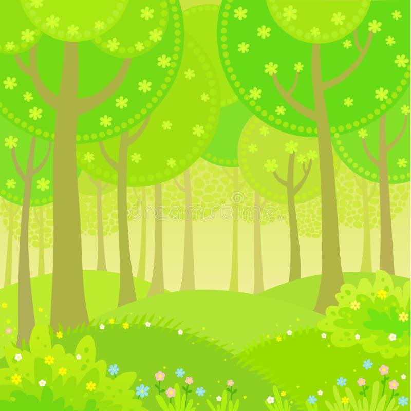 传染媒介背景动画夏天风景木头边缘 皇族释放例证