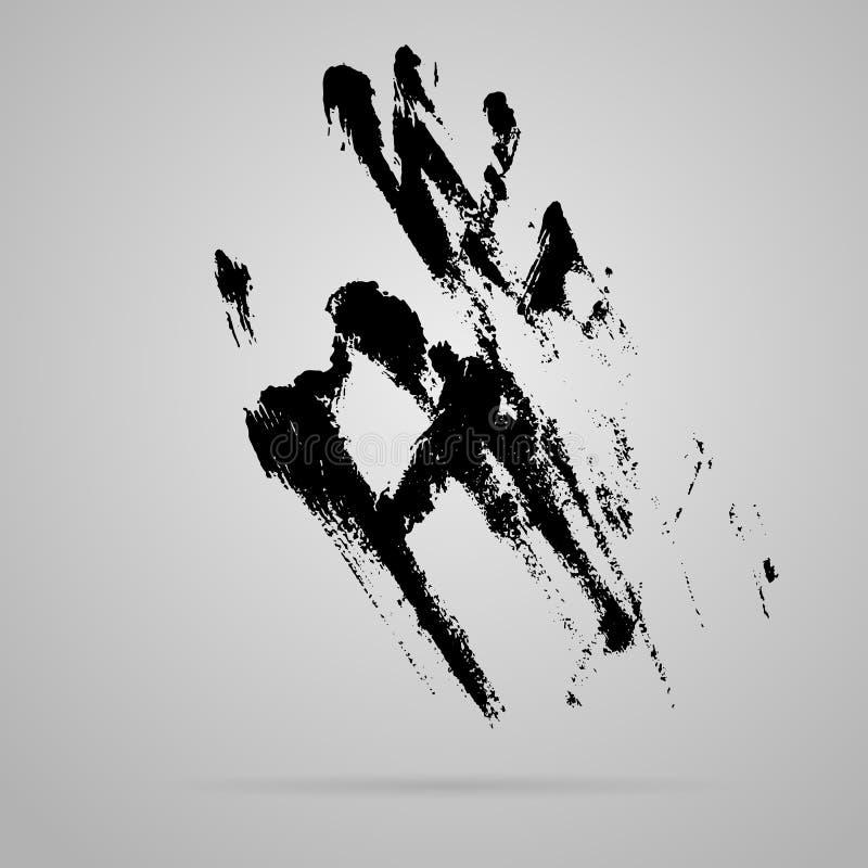 传染媒介黑色抹上了手版本记录 向量例证