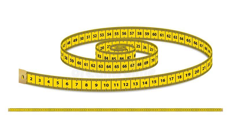 传染媒介黄色现实测量的磁带,在白色背景隔绝的衣物的皮带 在EPS10的设计模板 向量例证