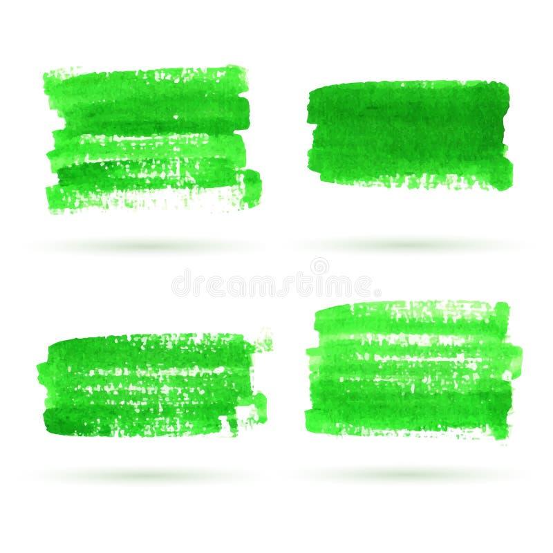 传染媒介绿色水彩横幅收藏 库存例证