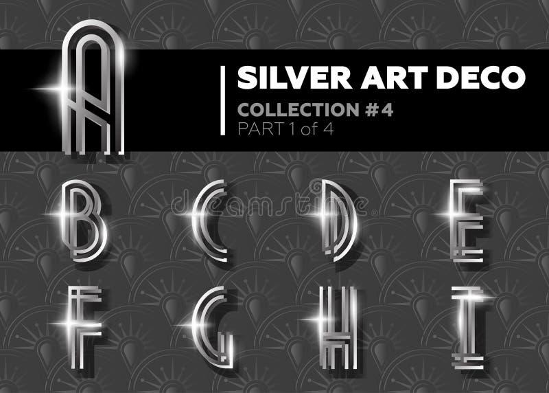 传染媒介艺术装饰字体 光亮的银色减速火箭的字母表 Gatsby Styl 库存例证