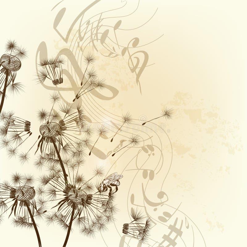 传染媒介花卉背景用蒲公英和笔记 向量例证