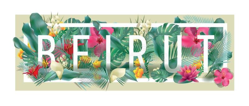 传染媒介花卉被构筑的印刷贝鲁特市艺术品 库存例证