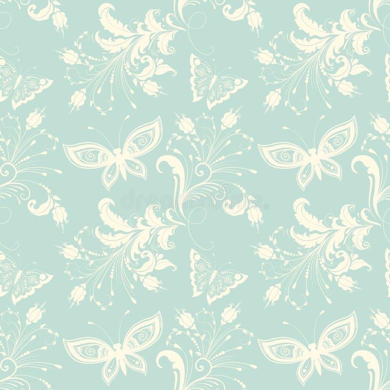 传染媒介花无缝的样式背景 背景的典雅的纹理 蝴蝶和花 库存例证