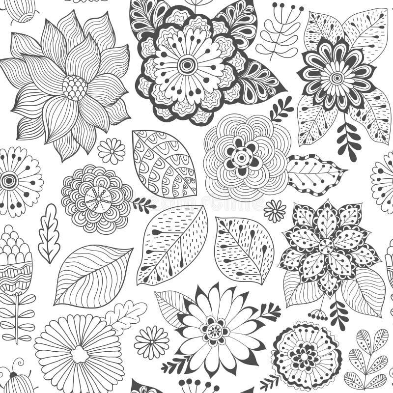 传染媒介花纹花样 五颜六色的无缝的植物的纹理,详细的花例证 所有元素没有播种 皇族释放例证
