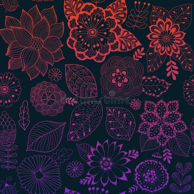 传染媒介花纹花样 五颜六色的无缝的植物的纹理,详细的花例证 所有元素没有播种 库存例证