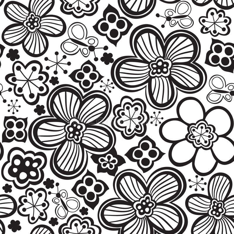 传染媒介花纹花样 黑白无缝的植物的纹理,详细的花例证 库存例证