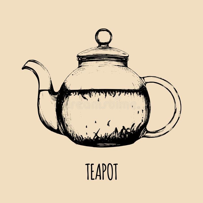 传染媒介茶壶例证 咖啡馆的,餐馆饮料菜单手拉的透明玻璃水壶剪影 库存例证