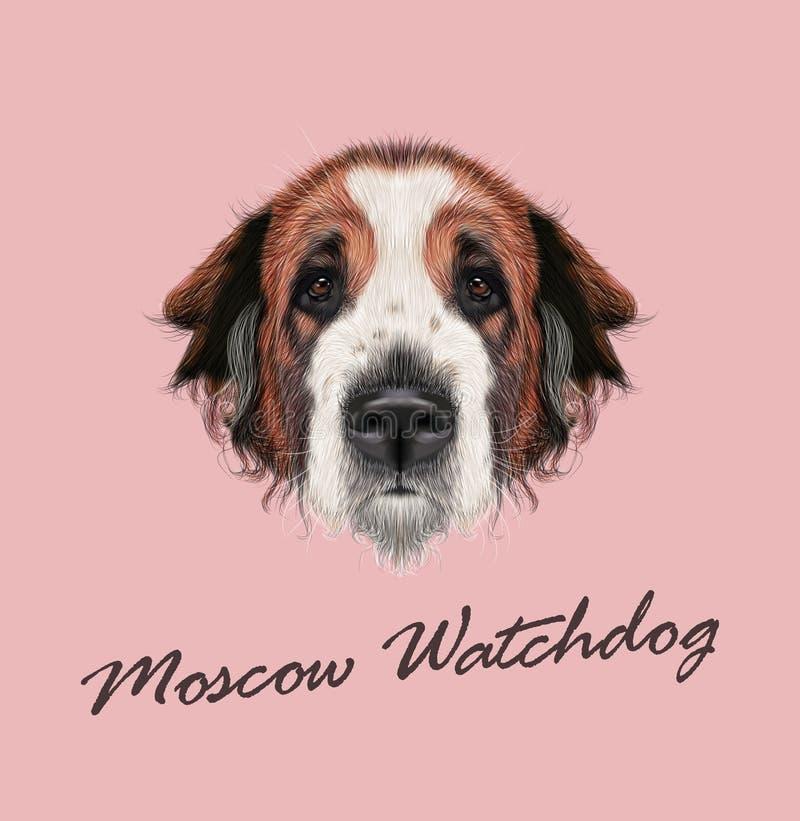 传染媒介莫斯科看家狗狗被说明的画象  库存例证