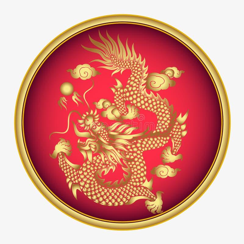 传染媒介葡萄酒中国龙板刻例证 皇族释放例证