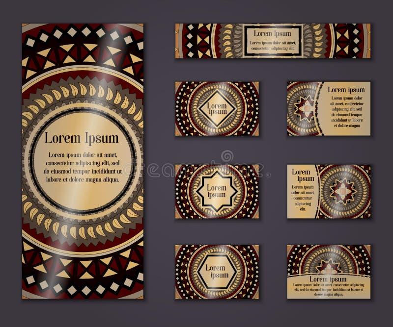 传染媒介葡萄酒事务和邀请卡集 花卉坛场样式装饰品 东方设计版面 回教,阿拉伯语,印地安人, 皇族释放例证