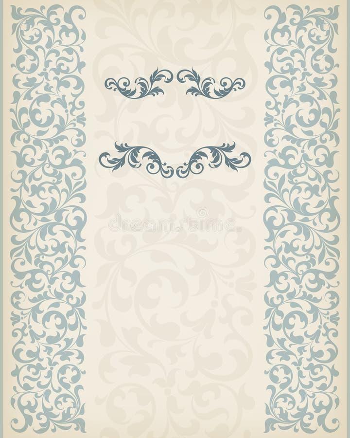 葡萄酒边界框架装饰华丽书法传染媒介 库存例证