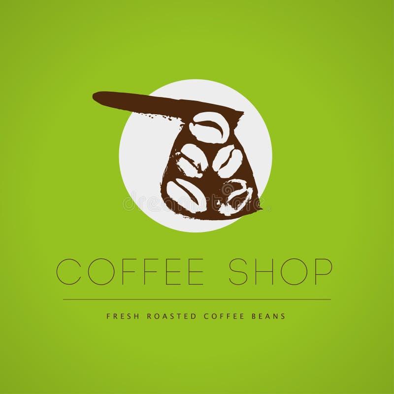 传染媒介葡萄酒咖啡店象征在绿色背景隔绝的商标设计 皇族释放例证