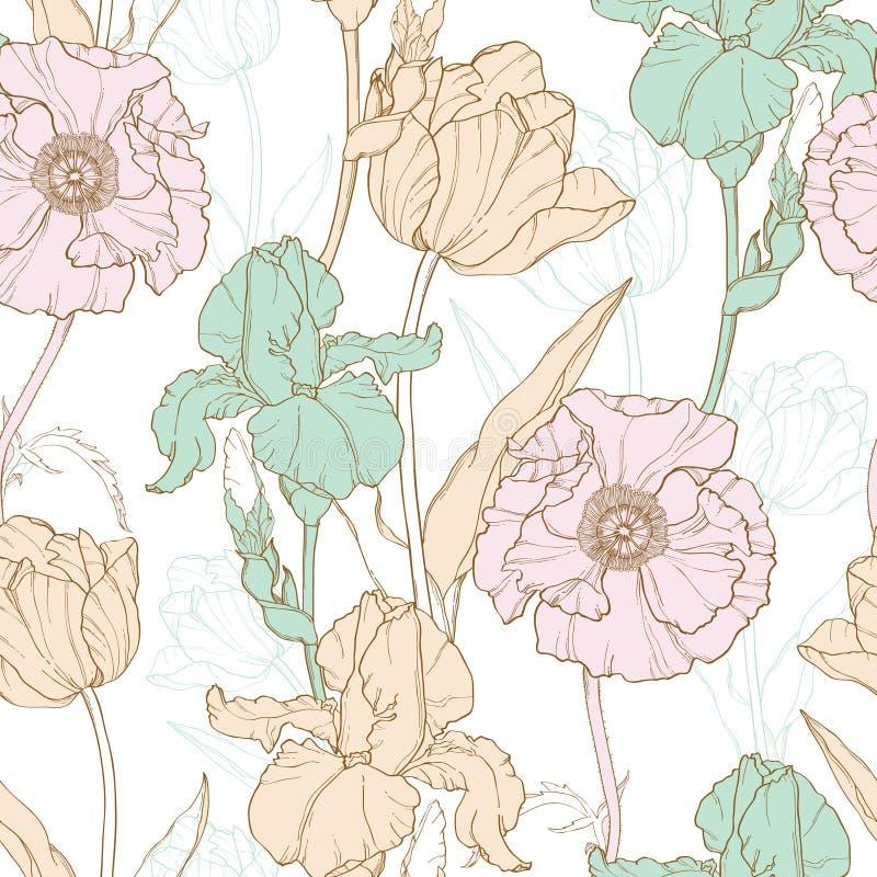传染媒介葡萄酒开花与郁金香,鸦片,在经典减速火箭的样式纺织品设计的虹膜的淡色无缝的重复样式 向量例证