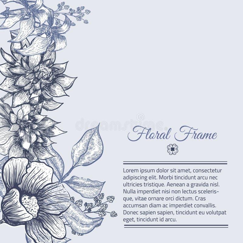 传染媒介葡萄酒框架花卉背景设计 皇族释放例证
