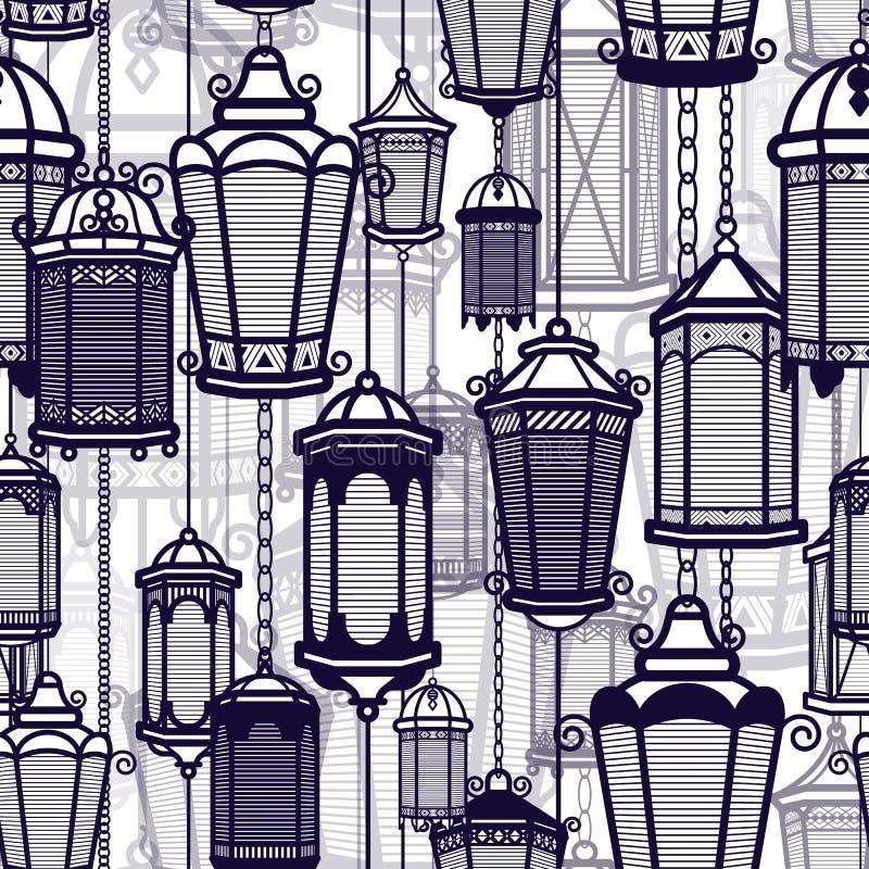 传染媒介葡萄酒灯笼无缝的样式 经典古色古香的光 古老减速火箭的灯设计 传统剪影 老 向量例证