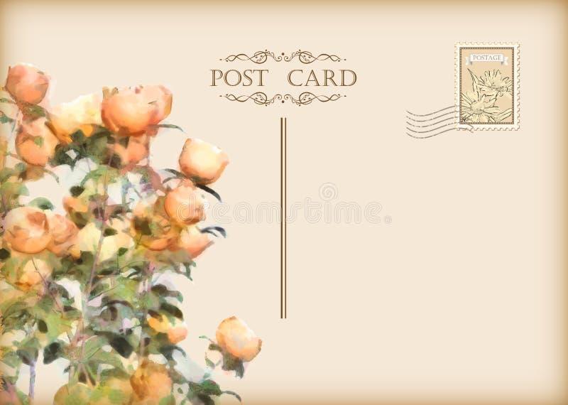 传染媒介葡萄酒花卉明信片 皇族释放例证