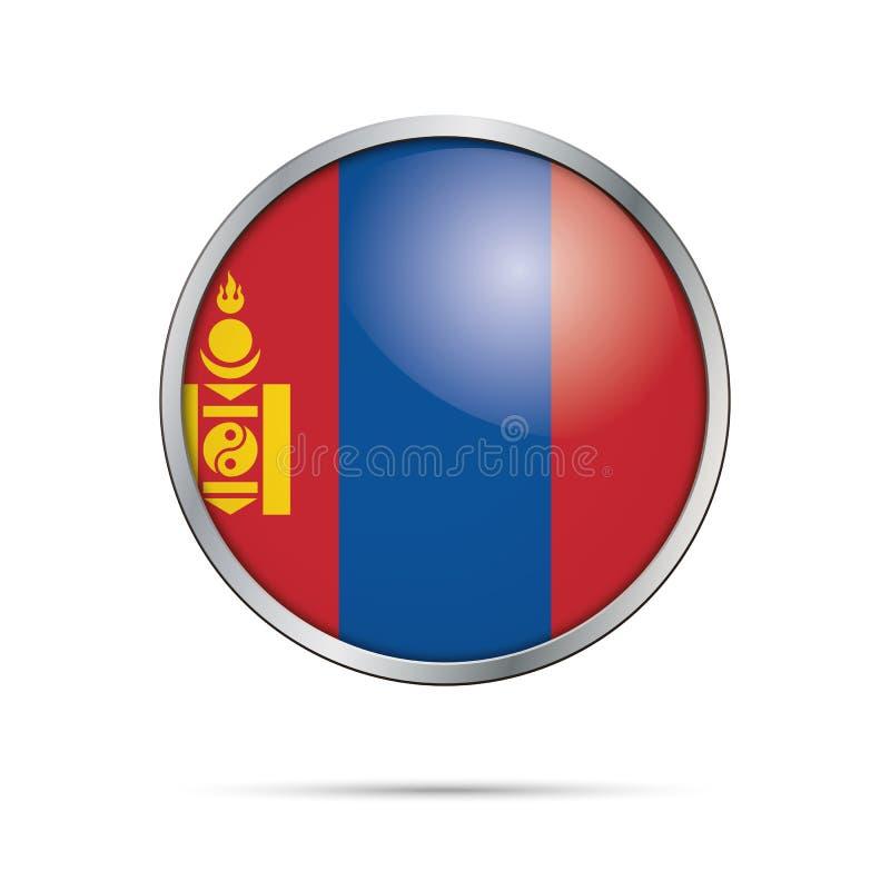 传染媒介蒙古旗子按钮 在玻璃按钮styl的蒙古旗子 皇族释放例证