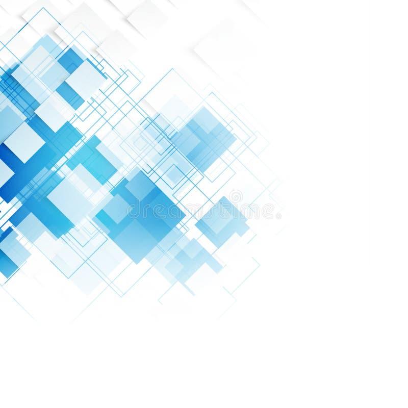 传染媒介蓝色正方形 抽象背景 皇族释放例证
