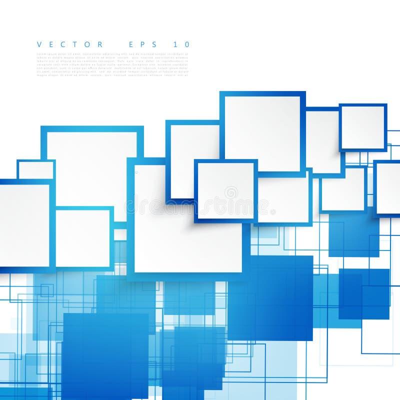 传染媒介蓝色正方形 抽象背景 库存例证
