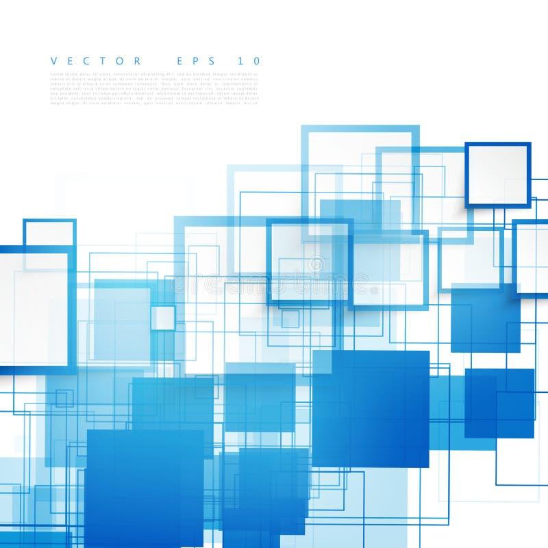 传染媒介蓝色正方形 抽象背景 向量例证