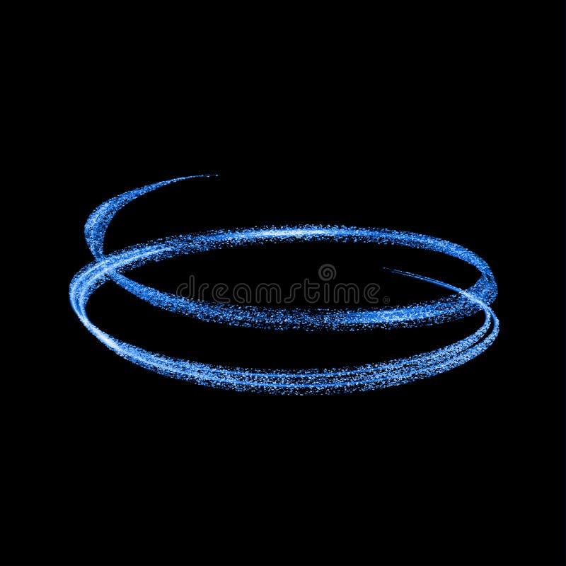 传染媒介蓝色轻的足迹圈子 霓虹发光的火圆环踪影 对transpare的闪烁不可思议的闪闪发光漩涡作用 皇族释放例证