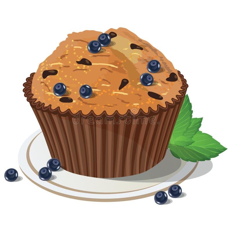 传染媒介蓝莓松饼 被隔绝的背景 向量例证